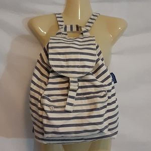 Baggu Blue Striped Canvas Backpack Bag